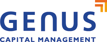 genus capital management logo in blue with orange arrow on the top right hand corner